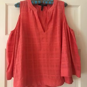 BCBGMaxAzria Tops - BCBG Maxazria Coral Orange Cold Shoulder Top